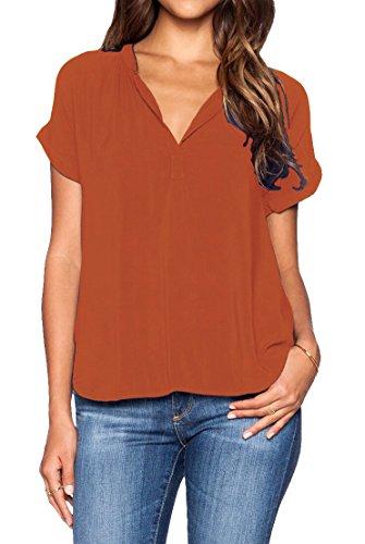 LILBETTER Damen Blusen Sommer Casual V-Ausschnitt Kurze Ärmel Lose Chiffon Blusen T-Shirt Tops(Orange M)