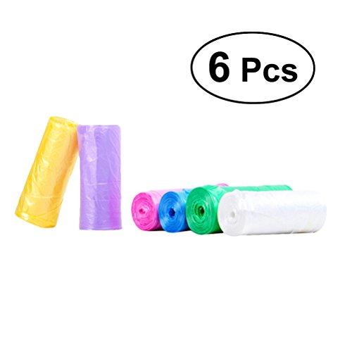 BESTONZON 6 Stücke Griff-Tie Kleine Müllbeutel Bunte Plastiktüten für Home Office-20 Stück Eine Rolle (zufällige Farbe)