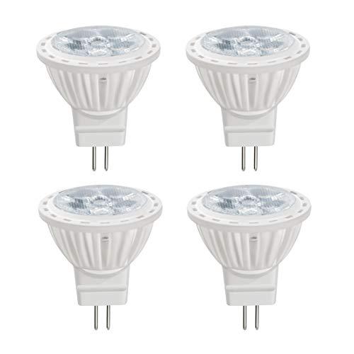 Akaiyal 4W GU4 MR11 LED Lampadine Bianco Freddo 6000K AC/DC 12V Lampadina GU4 ad Incasso 45° Faretto Lampada Alogena Lampadine Ricambio per Display da Cucina (Non-Dimmerabile, 4-Pack)