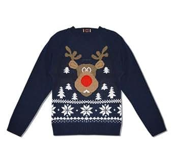 Childrens Boys Girls Christmas Xmas Retro Novelty Santa Rudolf Snowman Jumper (Years 11-12, Blue rudolf)
