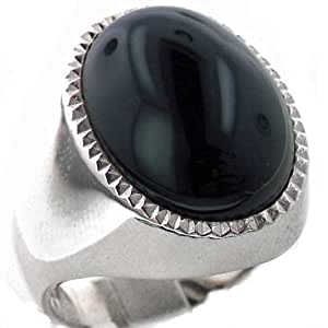 Gents Solid 925 Sterling Silver Large Natural Cabouchon Onyx Mens Signet Ring, Made in England - Size O - Finger Sizes O to Z+3 Available - Ideal gift for fathers day, valentines, wedding, birthday, christmas, thanksgiving, grandfathers day, uncle, dad, son, nephew