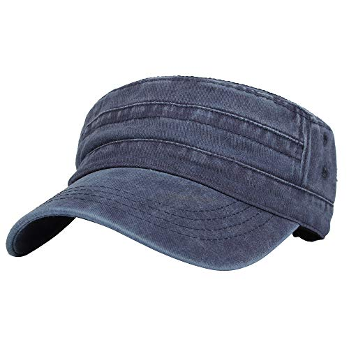802602b1372 WITHMOONS Casquette de Baseball Flat Top Washed Baseball Cap Military Style  Cadet Hat KZ40037 (Navy