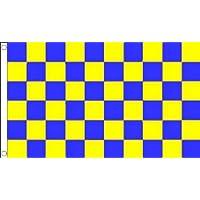 BANDIERA A SCACCHI GIALLI E BLU 150x90cm - BANDIERA SCACCHIERA GIALLA ED AZZURRA 90 x 150 cm - AZ FLAG