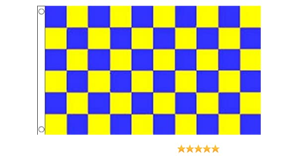 Yellow Check Chequered Large Flag 5/' x 3/' Black