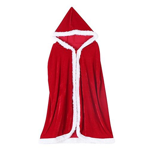 FTVOGUE Costume Cosplay Mantello da Donna con Cappuccio Rosso Natale Halloween Costume Cosplay per Adulti (XL-150cm)