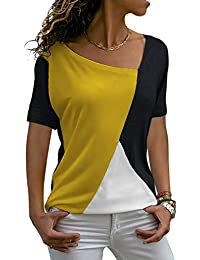 SUNWEST Womens Tops Short Sleeve Patchwork Color Block Summer Casual Basic Tee Shirts Loose Fit Tunic Tops Blouses