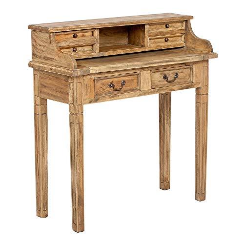 LEBENSwohnART Sekretär Ilena Antique-Natural ca.L90cm Mahagoni Massivholz Schreibtisch Tisch