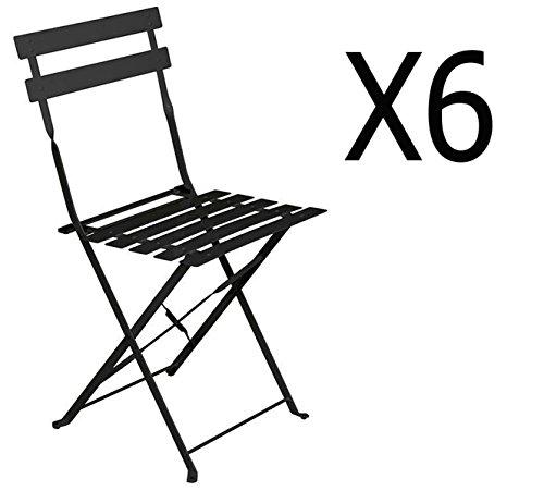 PEGANE Lot de 6 chaises Pliantes en Acier Coloris Noir - Dim: 42 x 47 x 81 cm