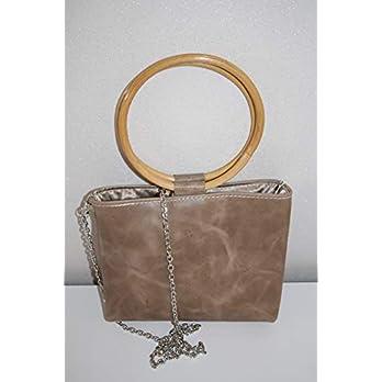 Schnäppchen 29,- Euro!!!!beige Handtasche Lederhandtasche Crossover mit Bambusgriffen