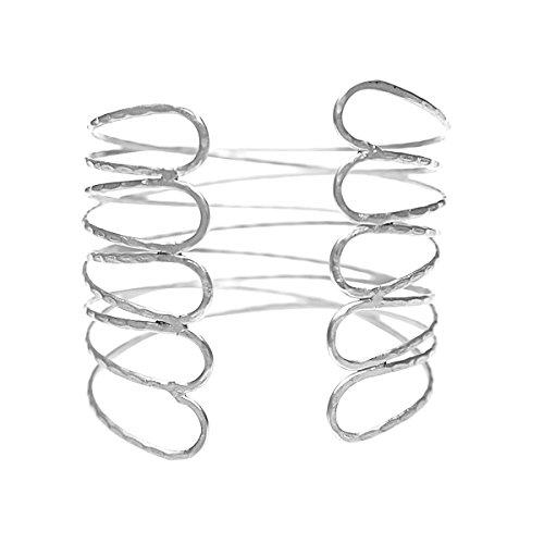 keland Punk-Stil Legierung Tulpe Oberarm Kette Armband Armband Ring Schmuck (Silver)