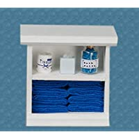 Town Square Miniatures Dolls House Small Shelf Unit with Dark Blue Accessories Bathroom Furniture