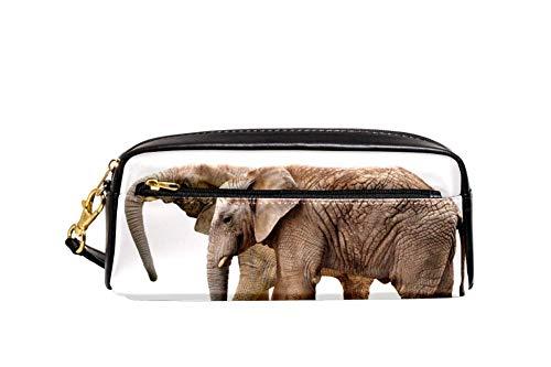 Elefantes Lápices Bolsa de cuero Oxford de gran capacidad con cremallera doble...