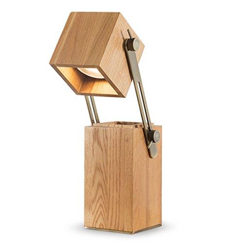 Lampada da scrivania a led regolabile in legno, design portapenne, paralume in legno massello, lampada da comodino con camera da letto, lampada da studio per ufficio (color : b)