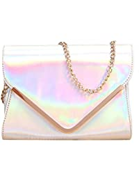 Monique Women Holographic PU Leather Sling Bag Chain Cross-body Bag For School Shopping Travel