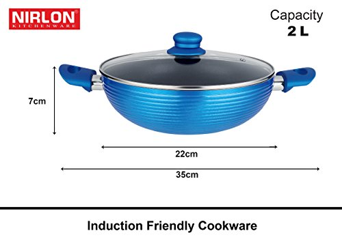 Nirlon Non-Stick Aluminium Cookware Set, 5-Pieces, Blue (FGD_FT28FP24KD22SP18CS20)