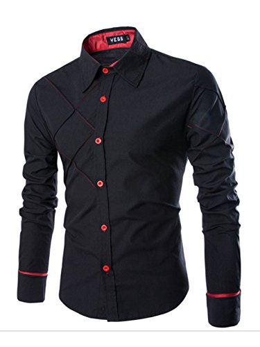 Men's Boutique Cotton Western Long Sleeve Casual Shirts Navy