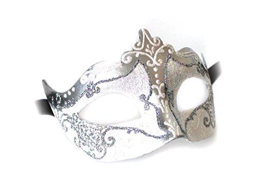 Kostüm Maske Bauta (Venezianische Maske Damen Frauen Colombina Stella weiss silber Handarbeit Original Karneval Masken Venezianisch aus Venedig für Maskenball Fasching oder)