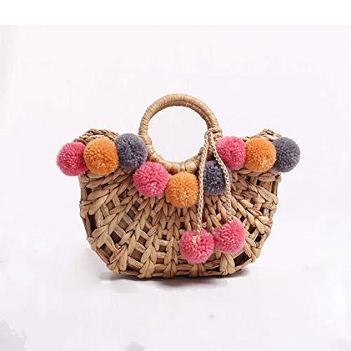 Häkeln Handtasche (WOKJBGE Rattan Tasche Strandtasche Stroh Totes Tasche handgefertigt gewebt Frauen Reisen Handtaschen häkeln Blume Handtaschen)