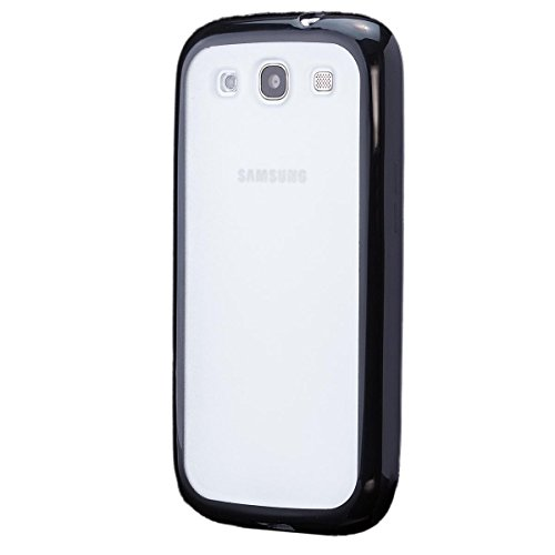 iCues Samsung Galaxy S3 NEO & S3 |  TPU Bumper mit Matte Rückseite Case Schwarz | [Display Schutzfolie Inklusive] Transparent Klarsichthülle Durchsichtig Klare Klarsicht Silikon Gel Schutzhülle Hülle Cover Schutz