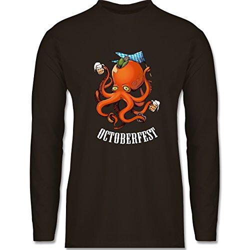 Shirtracer Oktoberfest Herren - Octoberfest Octopus - Herren Langarmshirt Braun