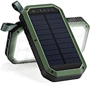 Solar Power Bank with Three USB Ports and LED Lights