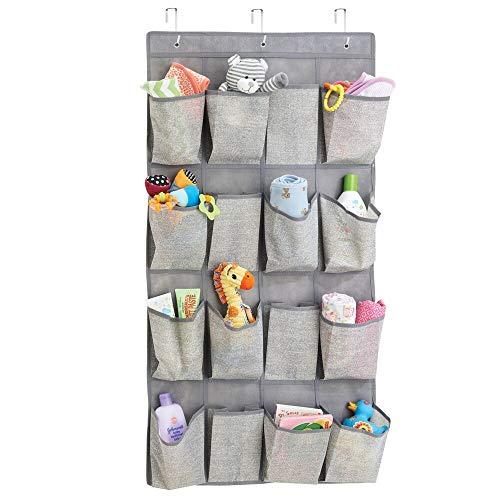 MDesign Organizador de tela para colgar sobre la puerta con 16 bolsillos - Colgador de puerta para ropa...