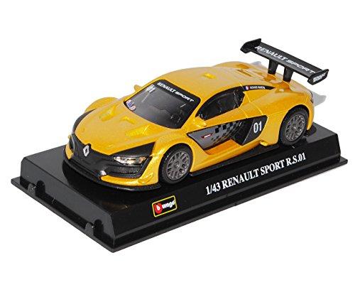 Renault-Megane-Sport-RS01-Gelb-Coupe-143-Bburago-Modell-Auto-mit-oder-ohne-individiuellem-Wunschkennzeichen