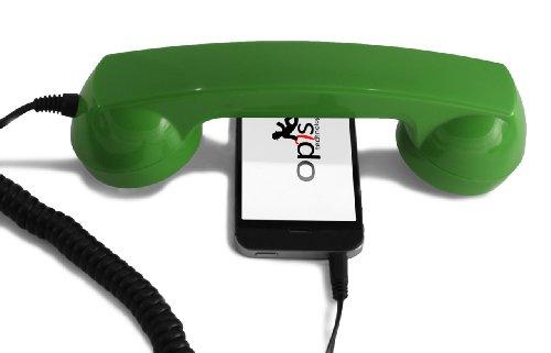 Opis 60s micro - Retro Handyhörer für Smartphones und Handys in der Form eines klassischen Telefonhörers (grün) (Telefonhörer Handy)