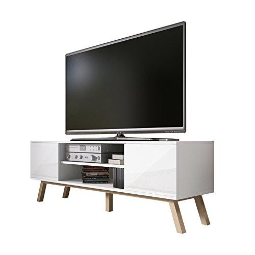 Vero Bois - Meuble tv Moderne (150 cm, Corpus Blanc Mat / Front Blanc Brillant)