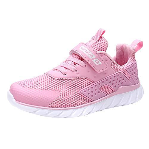 HDUFGJ Sneaker Unisex - Kinder Mesh Atmungsaktiv Laufschuhe Freizeitschuhe rutschfeste Bequem Leichtgewicht Laufschuhe Faule Schuhe Turnschuhe fitnessschuhe28.5 EU(Rosa)