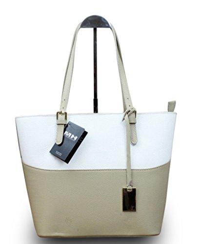 Made in Italy Vera Pelle Echt Leder Damentasche Handtasche viele Farben, Farbe:Natur Natur