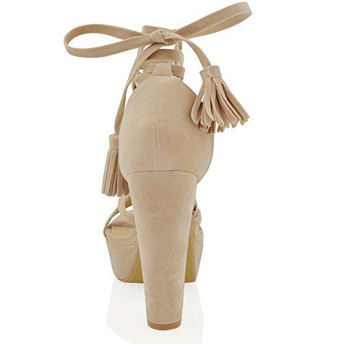 ESSEX GLAM Damen Hohen Blockabsatz Plateau-Sandalen Schnüren Reimchen Schuhe Hautfarbe Wildlederimitat