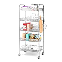 Cozzine 5 Tier Basket Mesh Rolling Kitchen Trolley, Utility Storage Rack Rolling Cart with 5 Side Hooks, Sturdy Serving Trolley mit 4 Locking Wheels for Home Office Kitchen Bathroom, Sliver