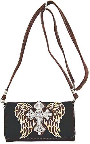 Blancho Biancheria da letto delle donne in pelle [Antico Castello] PU borsa elegante di modo Tote Bag Black Wallet-Nero
