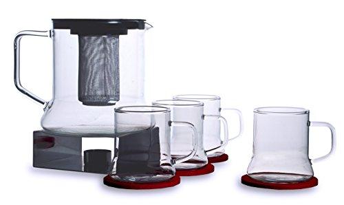 Bohemia Cristal 093 006 127 SIMAX Punschset 11 teilig, 1 Kanne ca. 1,8 ltr. aus hitzebeständigem Borosilikatglas mit Kunststoffdeckel und Metallsieb + 4 Tassen ca. 250 ml aus hitzebeständigem Borosilikatglas + 1 Metallstövchen + 4 Filzuntersetzer Tee-service-sets