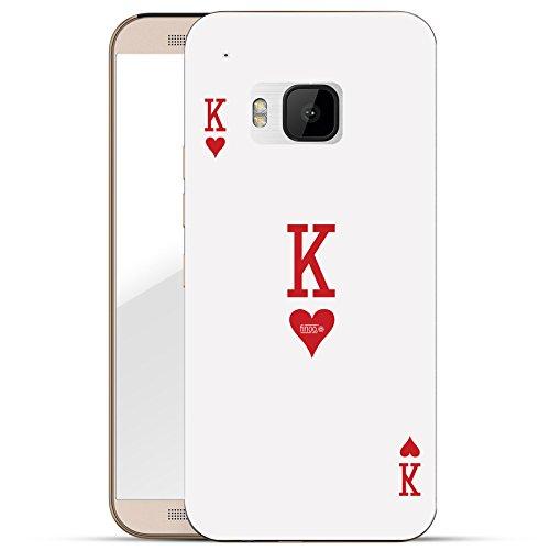 finoo | HTC one M9 Hard Case Handy-Hülle mit Motiv | dünne stoßfeste Schutz-Cover Tasche in Premium Qualität | Premium Case für Dein Smartphone| King Karte
