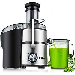Centrifugeuse Extracteur de Jus, Oneisall Facile à Nettoyer de 800W, bac d'alimentation de largeur de 75mm, convient pour tous les fruits et légumes, anti-goutte, haute qualité, sans BPA