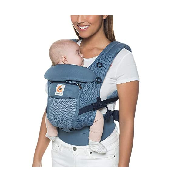 Ergobaby Baby Carrier for Newborn to Toddler up to 20kg, Cool Air Oxford Blue Adapt 3-Position Ergonomic Child Carrier Ergobaby Baby Carrier for newborns - The ergonomic bucket seat gradually adjusts to your growing baby, to ensure baby is seated in a natural frog-leg position (M-shape position) from newborn to toddler (3.2 to 20kg / 7-45 lbs). NEW - Now with lumbar support. Long-wearing comfort for parents with even weight distribution between hips and shoulders. Lumbar support waistbelt that can be adjusted to the height of the carry position for extra, long-wearing comfort. Adapt 3 carry positions: front-inward, hip and back. The carrier has a padded, foldable head and neck support and a tuck-away baby hood for sun protection (UPF 50+) and privacy. It is possible to breastfeed in the carrier. 1