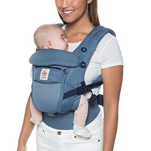 Ergobaby Babytrage für Neugeborene bis Kleinkind, Oxford Blue Cool Air Adapt 3-Positionen Ergonomische Baby-Tragetasche Kindertrage Air Oxford