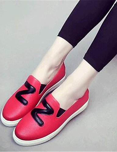 ZQ gyht Scarpe Donna-Mocassini-Tempo libero / Casual-Comoda-Piatto-Finta pelle-Nero / Rosso / Bianco , red-us9 / eu40 / uk7 / cn41 , red-us9 / eu40 / uk7 / cn41 black-us6 / eu36 / uk4 / cn36