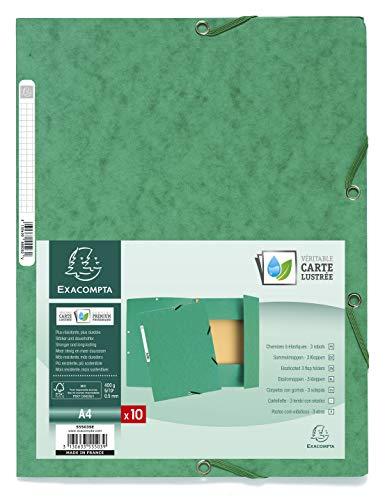 Chemise 3 rabats a elastiques carte lustree 400g/m2 nature future  - A4 - Vert