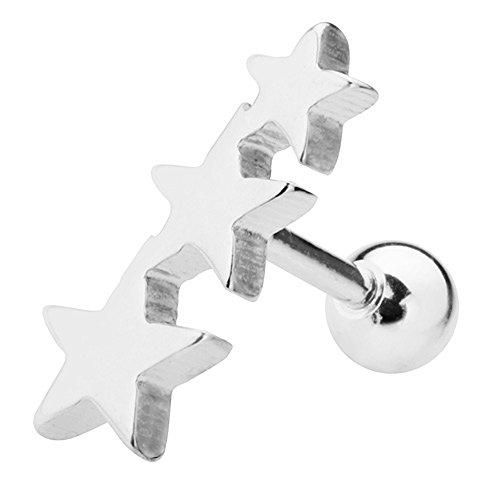 Piercingfaktor Piercing Ohr aus Chirurgenstahl Helix Tragus Ohrpiercing Stab Kugel Cartilage Knorpel Barbell Stecker 3 Stern Silber