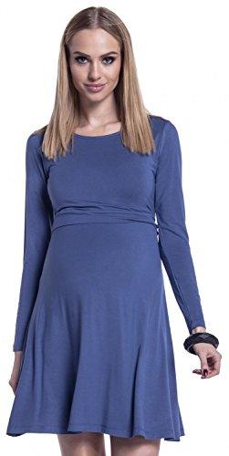 Happy Mama. Femme Robe Patineuse d'Allaitement Maternité. Double Couches. 128p Bleu Jeans
