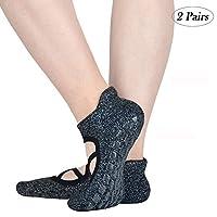 Jormatt Women Barre Yoga Pilates Socks Non Slip Girls Dance Ballet Workout Hospital Anti-Skid with Grips,2 Pairs