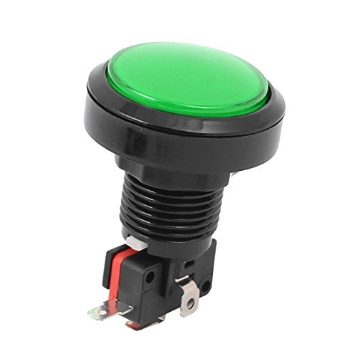 DealMux Green Light Rundkopf SPDT 4P Momentary Spiel Push Button w Micro-Endschalter -