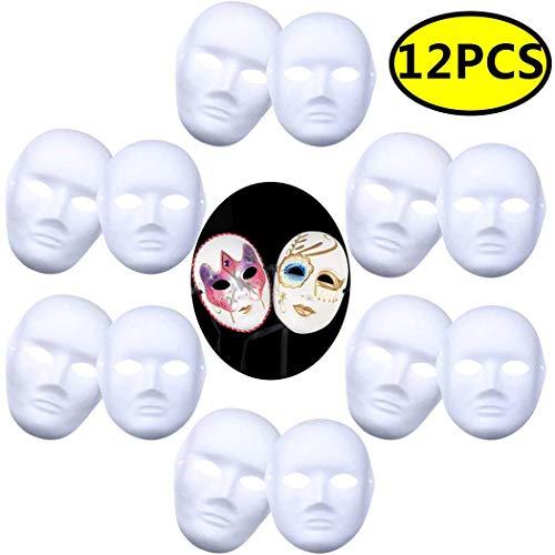 Cozyhoma DIY weiße Maske, 12 Stück Vollmaske, Papier Cosplay Maske, einfarbig, Halloween, Party, Karneval, Gras, weiß, ()