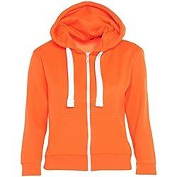 PARSA FASHIONS-Sudadera con Capucha-Mujer Naranja/Naranja Fluorescente S
