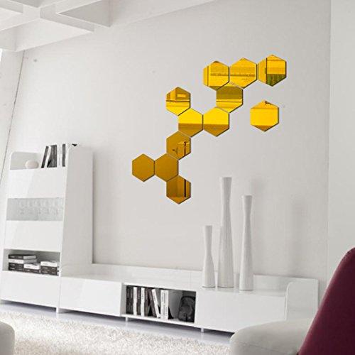 Preisvergleich Produktbild Wandschnörkel Wandaufkleber 12 Stück Hexagon Acryl Wandtattoo Moderne Decor Kunst DIY Wandtattoo