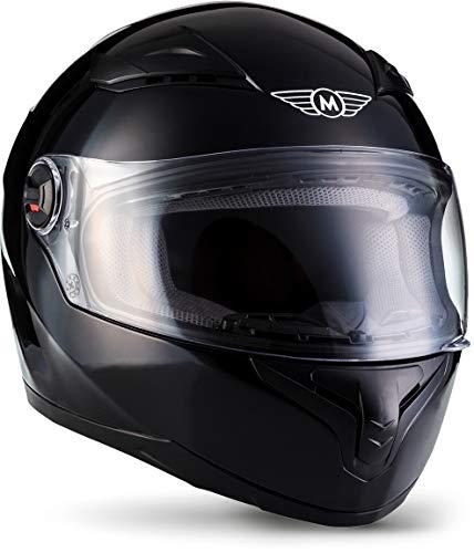 """Moto Helmets® X86 """"Gloss Black"""" · Integral-Helm · Full-Face Motorrad-Helm Roller-Helm Scooter-Helm · ECE Visier Schnellverschluss Tasche XL (61-62cm)"""