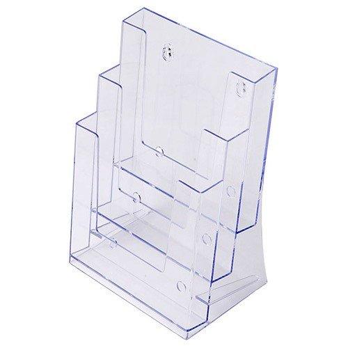 Porta depliant DIN A5 tre livelli, Menù da tavolo porta depliant in Acrilico